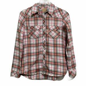 Guess Pink Plaid Snap Button Front Shirt Pockets